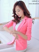 เสื้อสูททำงานผู้หญิงสีชมพู คอปก แขนยาว เอวเข้ารูป ทรงสวย