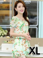 ชุดเดรสสั้นแฟชั่นเกาหลี มินิเดรสกระโปรง สีเขียวพิมพ์ลายน่ารักๆ เหมาะสำหรับใส่เที่ยววันสบายๆ เดินห้างช้อปปิ้ง ดูหนัง แบบสวยๆน่ารักๆ สไตล์สาวหวาน ,