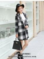 เสื้อโค้ทลายสก๊อตสีดำเทา ทรงสวย เนื้อผ้าดี ลุคสวยน่ารัก สดใส สไตล์เกาหลี