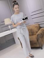 ชุดแฟชั่นเกาหลีสวยๆ สีเทา ชุดเสื้อ-กางเกงขายาว
