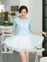 ( XL ) ชุดเดรสออกงานคนอ้วน ชุดไปงานแต่งงานคนอ้วนสวยๆ สีฟ้าเสื้อผ้าลูกไม้คอกลม แขนสามส่วน เย็บต่อด้วยกระโปรงผ้าแก้ว