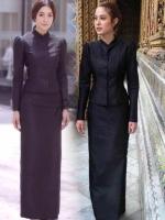 ชุดไทยจิตรลดาสีดำ ชุดถวายบังคมพระบรมศพ เรียบร้อย สุภาพ สวยสง่า ถูกกาลเทศะ งานแบบแต้ว / ขวัญ งานผ้าไหมเทียม เกรด A