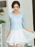 ( S M L ) ชุดเดรสออกงาน ไปงานแต่งงานสวยๆ สีฟ้า เสื้อผ้าลูกไม้คอกลม แขนสามส่วน เย็บต่อด้วยกระโปรงผ้าแก้ว
