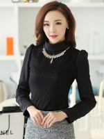 เสื้อทำงานแฟชั่นเกาหลี สีดำ คอเต๋า แขนยาว ผ้าชีฟอง+ลูกไม้ , M L XL