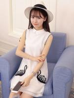 ชุดเดรสสั้นสีขาว คอปก แขนกุด พิมพ์ลายห่านคู่น่ารักๆ แฟชั่นสวยๆสไตล์เกาหลี