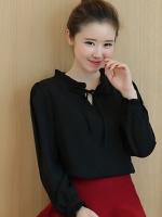 เสื้อทำงานสีดำ ผ้าชีฟอง ลุคเรียบๆ สวย น่ารัก M L XL