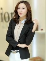 เสื้อสูททำงานผู้หญิงสีดำ ทรงสวย แขนยาว สวย ดูดี สุภาพ ดูเป็นทางการ สไตล์สาวออฟฟิศ
