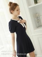 ชุดเดรสสั้นสีดำ คอเสื้อแต่งโบว์สีขาว แขนสั้น สวยๆ น่ารักๆ แนวเกาหลี ใส่ทำงาน ใส่ช้อปปิ้ง