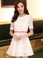 ชุดทำงานแฟชั่นเกาหลี มินิเดรสสวยๆ ชุดประโปรงสั้น คอปก แขนสั้น ผ้า organza สีขาว ( S M L XL )
