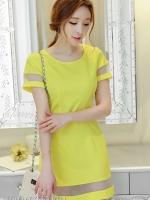 ชุดเดรสสั้นสีเหลือง แขนสั้น เข้ารูป แต่งแถบด้วยผ้าไหมแก้วช่วงแขน+ชายกระโปรง สวยๆ น่ารักๆ สไตล์เกาหลี