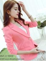 เสื้อสูททำงานผู้หญิงสีชมพู คอปก แขนยาว เอวเข้ารูป แต่งกระดุมมุก