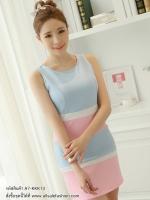 ชุดเดรสสั้นสีฟ้า ชมพู เข้ารูป แขนกุด สวยๆ น่ารักๆ สไตล์เกาหลี