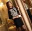 เสื้อทำงานแฟชั่นสไตล์เกาหลีสวยๆ เสื้อลูกไม้แขนยาวสีดำ คอจีน กระดุมคอ ผ้าลูกไม้เนื้อผ้ายืดหยุ่น thumbnail 5
