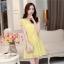 ชุดเดรสสั้นน่ารักๆ สีเหลือง ผ้าชีฟอง คอกลมแต่งระบาย แขนสั้น เอวสายรูด มีซับในทั้งตัว ขนาดไซส์ L thumbnail 6