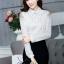 เสื้อทำงานแฟชั่นเกาหลี เรียบหรู ดูดี เสื้อเชิ้ตสีขาว แขนยาว คอปก ผ้าชีฟอง + ลูกไม้ , S M L XL thumbnail 4