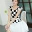 ชุดเดรสทำงานสาวออฟฟิศ สีดำขาว ลายตาราง กระโปรงสีขาว แนวเกาหลี สวยหวาน เรียบร้อย thumbnail 2
