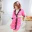 เซ็กซี่ชุดชั้นในลูกไม้ Robe ชุดนอน Nightgown + G-String สีขาว+ชมพูอ่อน thumbnail 4
