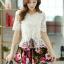 ชุดเดรสสั้นลายดอกไม้ เสื้อผ้าลูกไม้สีขาว เย็บต่อด้วยกระโปรงสั้นลายดอกไม้ เป็นชุดเดรสแฟชั่นน่ารักๆ สไตล์เกาหลี ( S,M,L,XL,) thumbnail 2