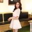 ชุดทำงานแฟชั่นเกาหลี มินิเดรสสวยๆ ชุดประโปรงสั้น คอปก แขนสั้น ผ้า organza สีขาว ( S M L XL ) thumbnail 7