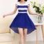 ชุดเดรสทำงานสวยๆ ชุดเดรสสั้น สีน้ำเงิน ผ้าชีฟอง เนื้อผ้าดี ( S M L XL ) thumbnail 7
