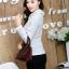 เสื้อทำงานแฟชั่นเกาหลี เรียบหรู ดูดี เสื้อเชิ้ตทำงานสีขาว คอปก แขนยาว ผ้าชีฟอง แต่งลายดอกไม้ , S M L XL thumbnail 3