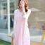 ชุดเดรสยาวสีชมพู แขนกุด คอวี ผ้าชีฟอง เอวยืด มีซับใน เรียบหรู thumbnail 2
