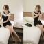 ชุดเดรสสั้นสีดำเรียบๆ น่ารักๆ สไตล์เกาหลี สีดำ แขนสั้น ช่วงไหล่สีขาว คอฉลุลายเก๋ๆ ทรงเข้ารูป thumbnail 4