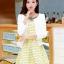 ชุดทำงานแฟชั่นเกาหลีสวยๆ ชุดทำงานออฟฟิศ ชุดเซ็ท 2 ชิ้น เสื้อคลุม + มินิเดรสสั้นสีเหลือง ผ้า Jacquard ( S,M,L,XL ) thumbnail 1