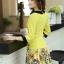 ชุดเดรสทำงาน แนวสวยหวานน่ารัก สีเหลือง คอปก แขนสี่ส่วน เอวเข้ารูป กระโปรงลายดอกไม้ S M L XL thumbnail 4