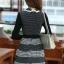 ชุดทำงานออฟฟิศ คุณครู ราชการ ชุดแซกกระโปรงสั้น ลายตาราง สีดำ แขนยาว ชุดเดรสสวยหวาน น่ารัก แฟชั่นสไตล์เกาหลี ( M,L,XL) thumbnail 6