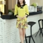 ชุดเดรสทำงาน แนวสวยหวานน่ารัก สีเหลือง คอปก แขนสี่ส่วน เอวเข้ารูป กระโปรงลายดอกไม้ S M L XL thumbnail 3