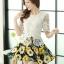 ชุดเดรสสั้นลายดอกไม้ เสื้อผ้าลูกไม้สีขาว เย็บต่อด้วยกระโปรงสั้นลายดอกไม้สีเหลือง เป็นชุดเดรสแฟชั่นน่ารักๆ สไตล์เกาหลี ( S,M,L,XL,) thumbnail 5