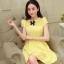 ชุดเดรสแฟชั่นเกาหลี ชุดเดรสน่ารัก ชุเดรสสั้น ผ้าโพลีเอสเตอร์ คอกลม แขนสั้น แต่งโบว์ เอวเข้ารูป กระโปรงบาน ( M,L,XL ) thumbnail 1