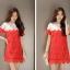 ชุดเดรสสั้นสีแดง ผ้าโครเชถักทั้งตัว ทรงตรง แขนสั้น ลุคสวยหวาน น่ารักๆ สไตล์เกาหลี ใส่เป็นชุดไปงานแต่งงานได้ thumbnail 2