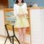 ชุดทำงานแฟชั่นเกาหลีสวยๆ ชุดทำงานออฟฟิศ ชุดเซ็ท 2 ชิ้น เสื้อคลุม + มินิเดรสสั้นสีเหลือง ผ้า Jacquard ( S,M,L,XL ) thumbnail 4