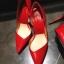 """รองเท้าส้นสูง ส้นแหลม หนังเรียบ สไตล์เกาหลี """"ทรง ZARA"""" สี แดง - ดำ (Pre) thumbnail 14"""