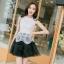 ชุดราตรีสั้น ชุดออกงาน ชุดเดรสแฟชั่นเกาหลี ชุดเดรสน่ารัก ชุดเดรสออกงาน ชุดเดรสสั้น เสื้อสีขาว แขนกุด เย็บติดกระโปรงสีดำ ( S,M,L,XL ) thumbnail 2