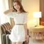 ชุดเดรสสั้นแฟชั่นเกาหลี ชุดเดรสลูกไม้สีขาว แขนสามส่วน เป็นชุดเดรสแนวหวานน่ารัก สวย เรียบร้อย ดูดี ( S M L ) thumbnail 8