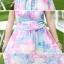 ชุดเดรสยาว สไตล์โบฮีเมียนเย็บคล้องคอ สีขาวพิมพ์ลายดอกไม้สีชมพู สวยหวาน thumbnail 3