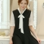 ชุดเดรสสั้นสีดำ ทรงปล่อย สวมใส่สบาย สวยๆ น่ารักๆ