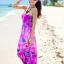 ชุดเดรสเที่ยวทะเลยาวสีม่วง ใส่ไปเที่ยวทะเล เย็บคล้องคอ เอวยืด พิมพ์ลายดอกไม้ สวยหวาน thumbnail 1