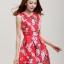 ชุดแซกกระโปรงใส่ทำงาน สีแดง พิมพ์ลายดอกซากุระ ผ้าคอลตอลอัดลายดอกไม้ ซิปหลัง , thumbnail 1