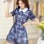 ชุดเดรสสั้นแฟชั่นเกาหลี สีน้ำเงิน พิมพ์ลายดอกไม้ คอปก แขนสั้น เป็นชุดเดรสแนวหวานน่ารัก เรียบร้อย ดูดี ( S M L XL ) thumbnail 2