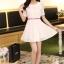 ชุดทำงานแฟชั่นเกาหลี มินิเดรสสวยๆ ชุดประโปรงสั้น คอปก แขนสั้น ผ้า organza สีขาว ( S M L XL ) thumbnail 8