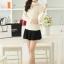 เสื้อทำงานแฟชั่นเกาหลี สีเบจ คอเต๋า แขนยาว ผ้าชีฟอง+ลูกไม้ , M L XL thumbnail 3