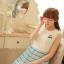ชุดเดรสแฟชั่นเกาหลี ชุดเดรสแฟชั่นน่ารัก ชุดเดรสสั้น ชุดเดรสสวย ๆ ชุดเดรสแนววินเทจ เสื้อคอกลมแขนกุด ต่อด้วยกระโปรงลายขวาง ( S,M,L ) thumbnail 4