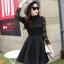 ชุดเดรสสั้นสีดำ แนวคุณหนู เรียบร้อย สวยหรู ดูดี สไตล์เกาหลี thumbnail 4