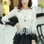 เสื้อแฟชั่นเกาหลีน่ารักๆ เสื้อแขนยาวลูกไม้ สีขาว ขาว คอกลม ปลายเสื้อแต่งด้วยผ้าแก้ว, S M L thumbnail 9