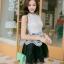 ชุดราตรีสั้น ชุดออกงาน ชุดเดรสแฟชั่นเกาหลี ชุดเดรสน่ารัก ชุดเดรสออกงาน ชุดเดรสสั้น เสื้อสีขาว แขนกุด เย็บติดกระโปรงสีดำ ( S,M,L,XL ) thumbnail 3