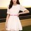 ชุดทำงานแฟชั่นเกาหลี มินิเดรสสวยๆ ชุดประโปรงสั้น คอปก แขนสั้น ผ้า organza สีขาว ( S M L XL ) thumbnail 6